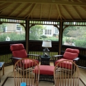 wooden 14 by 20 foot oval gazebo interior