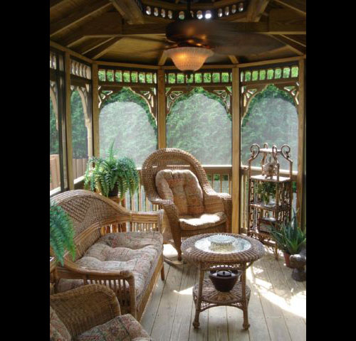 wooden 10 by 16 foot oval gazebo interior
