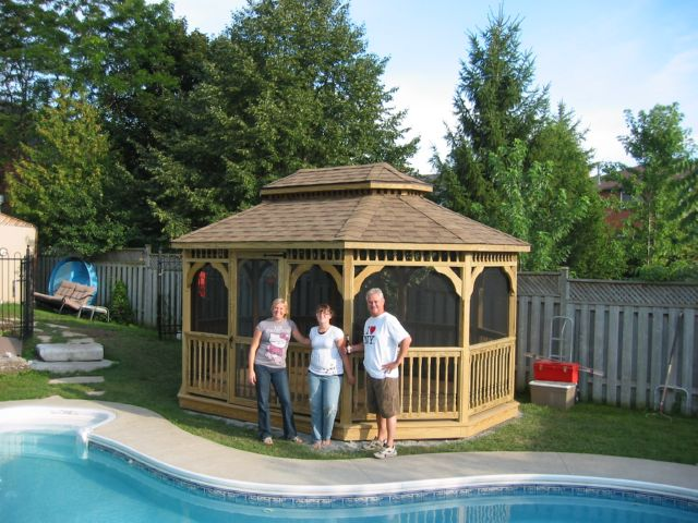 wooden 12 by 16 foot oval gazebo