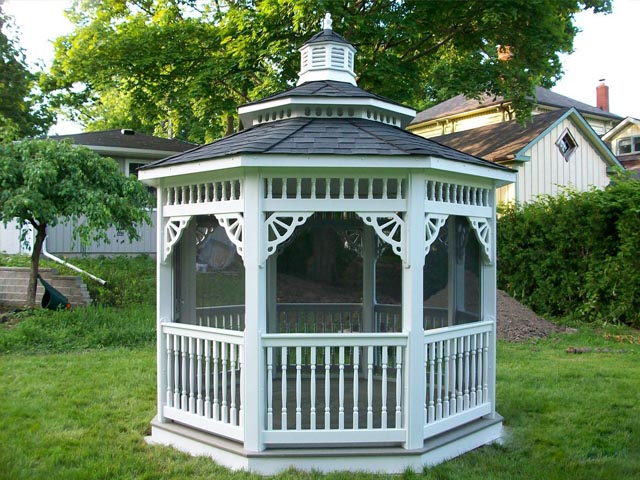 white vinyl 8 foot octagon gazebo